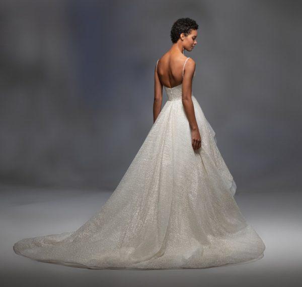 Spaghetti Strap V-neckline Sparkle Layered Tulle Skirt Ball Gown Wedding Dress by Lazaro - Image 2