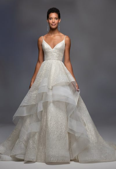 Spaghetti Strap V-neckline Sparkle Layered Tulle Skirt Ball Gown Wedding Dress by Lazaro