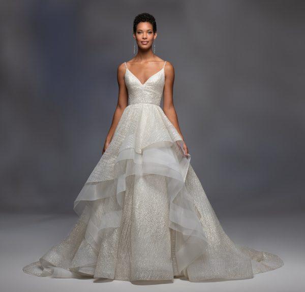 Spaghetti Strap V-neckline Sparkle Layered Tulle Skirt Ball Gown Wedding Dress by Lazaro - Image 1