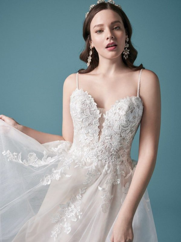 Spaghetti Strap A-line Lace Wedding Dress With Tulle Skirt And Floral Embroideries by Maggie Sottero - Image 2