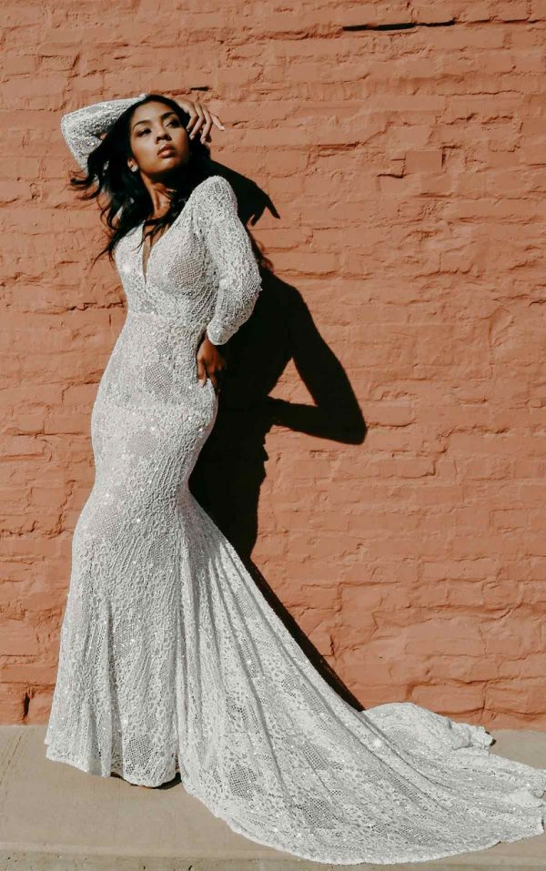 Backless Sparking Lace And Tulle Sheath With Long Sleeves by Martina Liana Luxe - Image 2