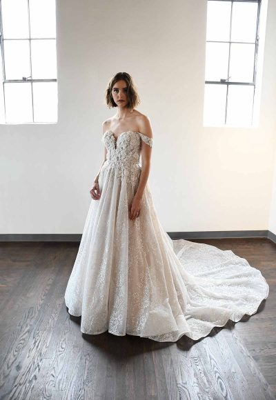 Classic And Romantic Off-Shoulder Ball Gown With Pockets by Martina Liana Luxe