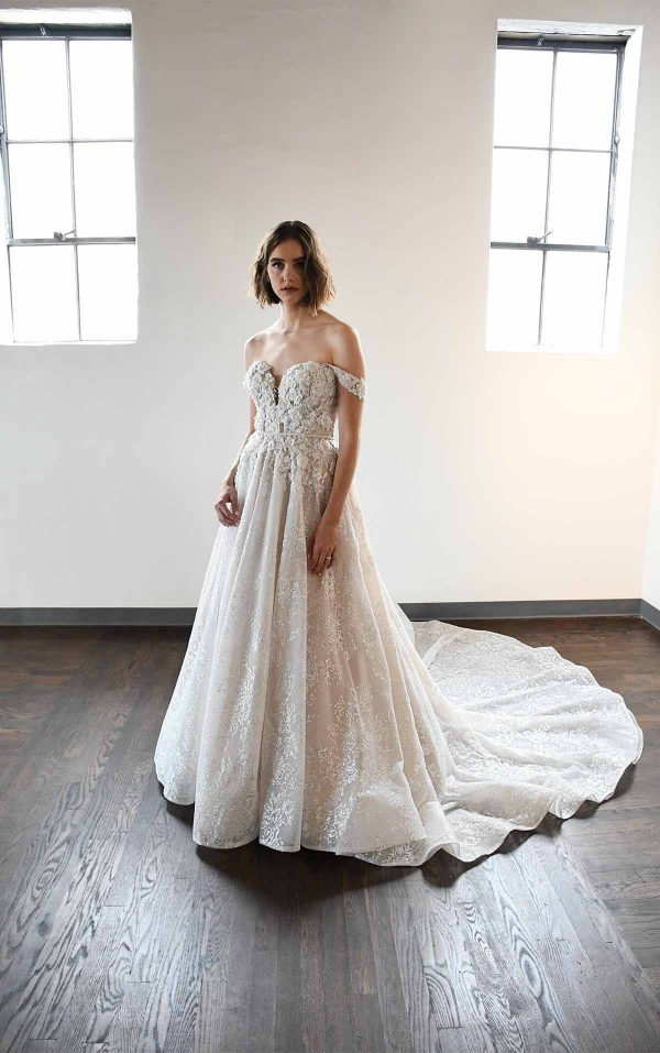 Classic And Romantic Off-Shoulder Ball Gown With Pockets by Martina Liana Luxe - Image 1