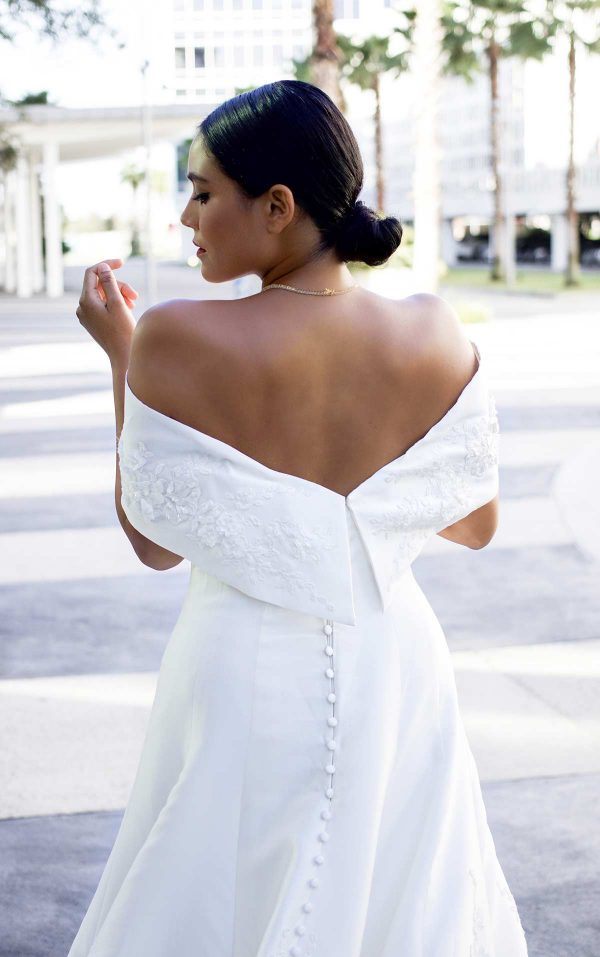 Classic Silk Ball Gown With Off Shoulder Wrap by Martina Liana Luxe - Image 2