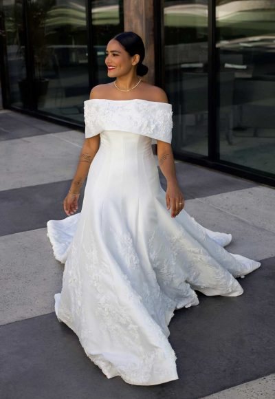 Classic Silk Ball Gown With Off Shoulder Wrap by Martina Liana Luxe