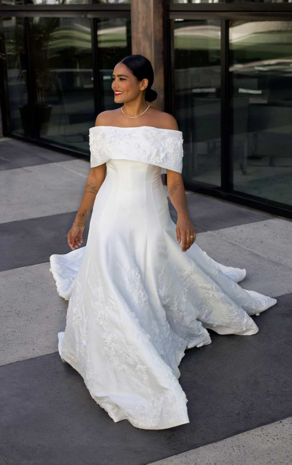 Classic Silk Ball Gown With Off Shoulder Wrap by Martina Liana Luxe - Image 1
