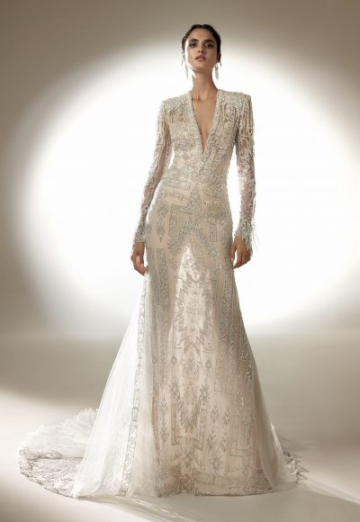 Long Sleeve V-neck Sheath Wedding Dress With Beading by Pronovias