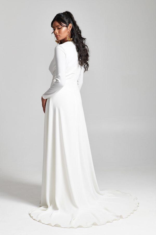 Long Sleeve Simple V-neckline A-line Wedding Dress by Rebecca Schoneveld - Image 2