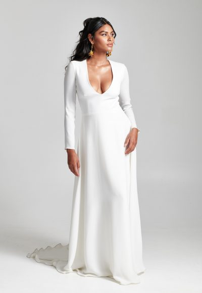 Long Sleeve Simple V-neckline A-line Wedding Dress by Rebecca Schoneveld