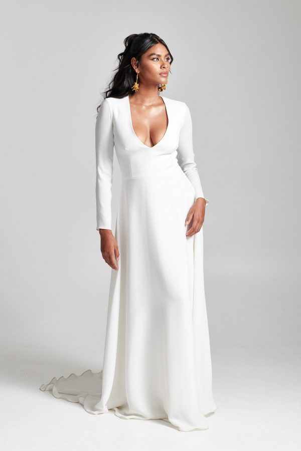 Long Sleeve Simple V-neckline A-line Wedding Dress by Rebecca Schoneveld - Image 1