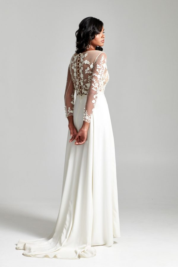 Long Sleeves Embroidered Illusion Top With Satin A-line Skirt Wedding Dress by Rebecca Schoneveld - Image 2