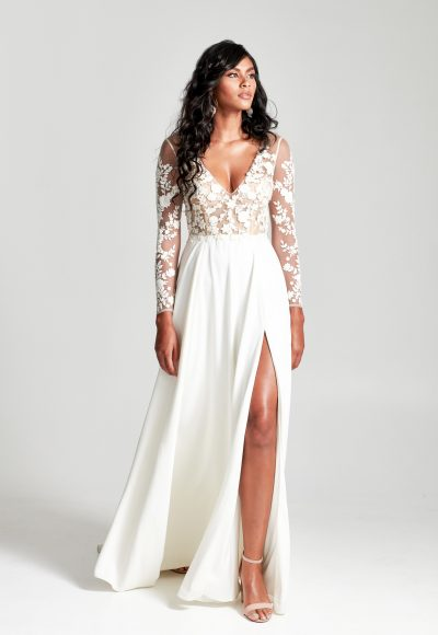 Long Sleeves Embroidered Illusion Top With Satin A-line Skirt Wedding Dress by Rebecca Schoneveld