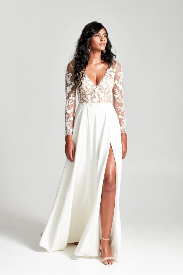 Long Sleeves Embroidered Illusion Top With Satin A-line Skirt Wedding Dress by Rebecca Schoneveld - Image 1