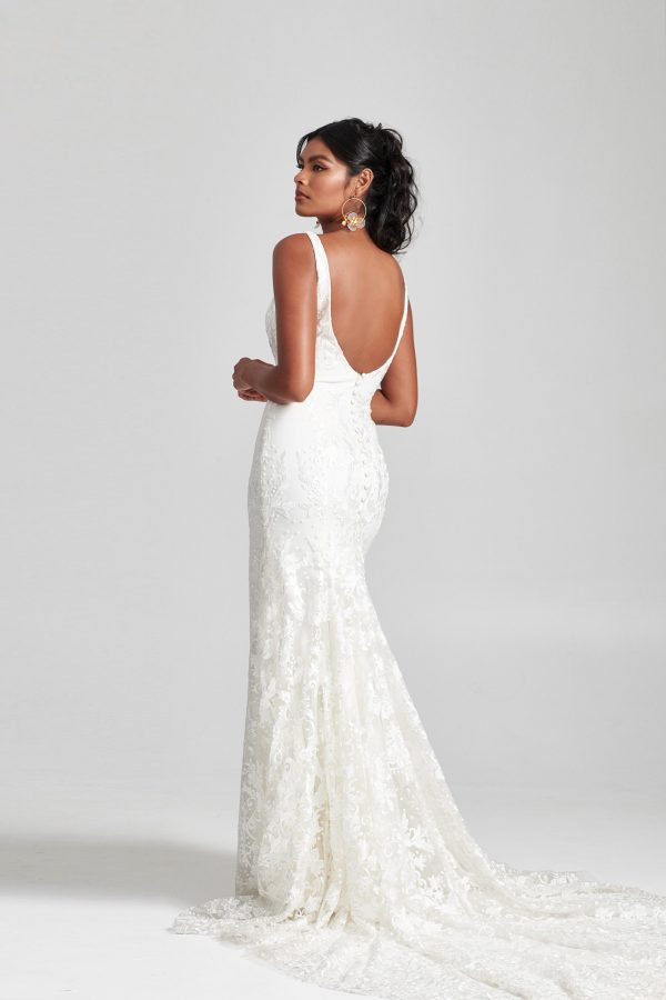Sleeveless Scoop Neckline Floral Embroidered Tulle Fit And Flare Wedding Dress by Rebecca Schoneveld - Image 2
