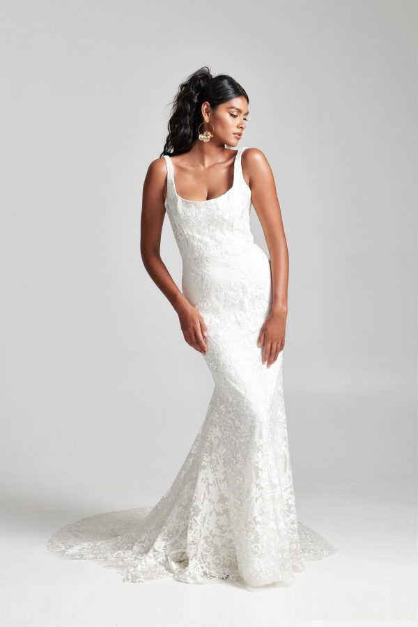 Sleeveless Scoop Neckline Floral Embroidered Tulle Fit And Flare Wedding Dress by Rebecca Schoneveld - Image 1