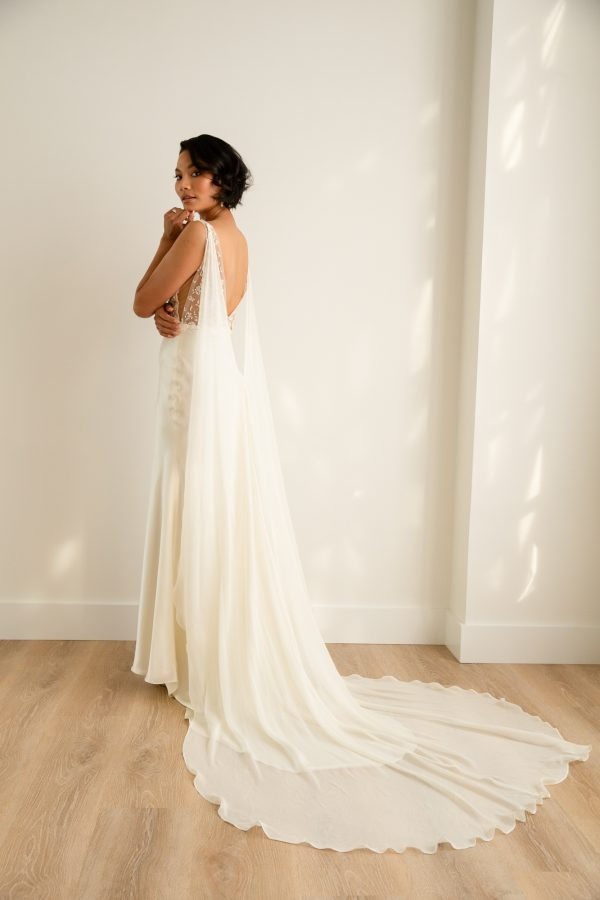 Sleeveless Sheath Wedding Dress With Lace Embroidered Bodice And Silk Skirt by Rebecca Schoneveld - Image 2