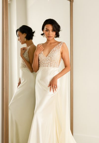 Sleeveless Sheath Wedding Dress With Lace Embroidered Bodice And Silk Skirt by Rebecca Schoneveld