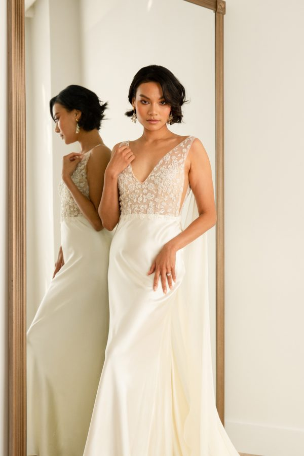 Sleeveless Sheath Wedding Dress With Lace Embroidered Bodice And Silk Skirt by Rebecca Schoneveld - Image 1