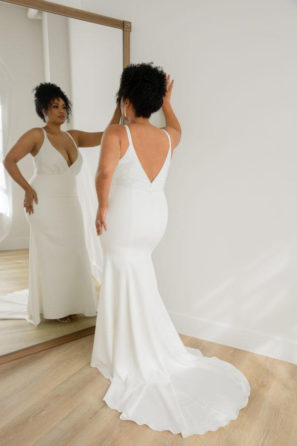 Sleeveless V-neck Front And Back Sheath Crepe Wedding Dress by Rebecca Schoneveld - Image 2
