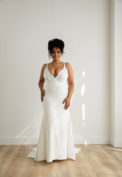 Sleeveless V-neck Front And Back Sheath Crepe Wedding Dress by Rebecca Schoneveld