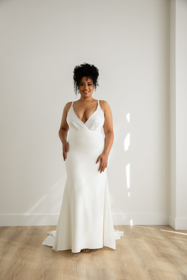 Sleeveless V-neck Front And Back Sheath Crepe Wedding Dress by Rebecca Schoneveld - Image 1