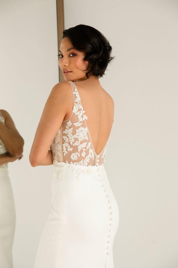 Sleeveless V-neckline Sheath Wedding Dress With Semi Sheer Bodice And Stretch Crepe Skirt by Rebecca Schoneveld - Image 2