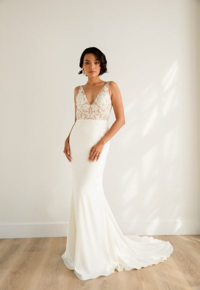 Sleeveless V-neckline Sheath Wedding Dress With Semi Sheer Bodice And Stretch Crepe Skirt by Rebecca Schoneveld
