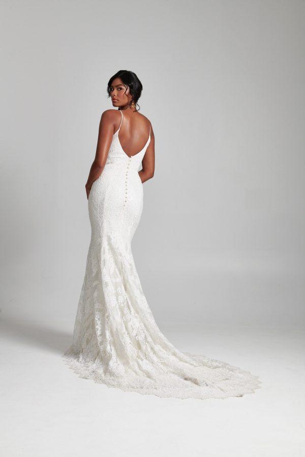 Spaghetti Strap Fit And Flare V-neckline Lace Wedding Dress by Rebecca Schoneveld - Image 2