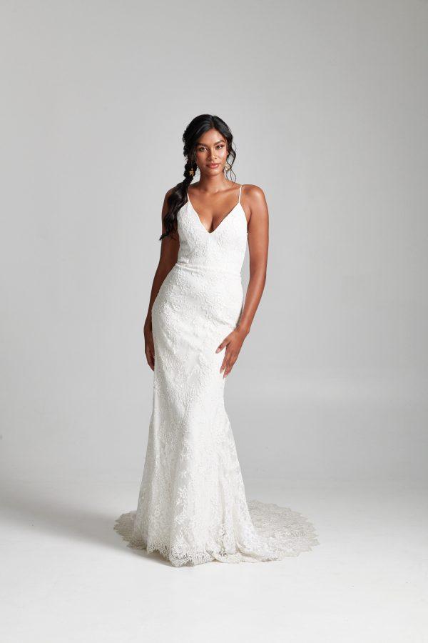 Spaghetti Strap Fit And Flare V-neckline Lace Wedding Dress by Rebecca Schoneveld - Image 1