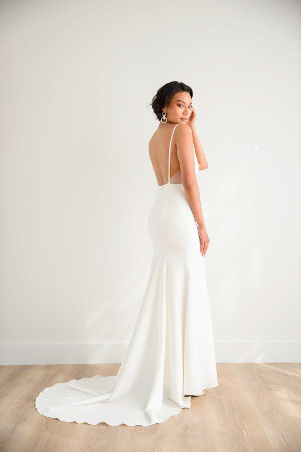 Spaghetti Strap V-neck Satin Sheath Wedding Dress With Stretch Crepe Skirt by Rebecca Schoneveld - Image 2