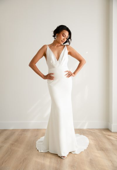 Spaghetti Strap V-neck Satin Sheath Wedding Dress With Stretch Crepe Skirt by Rebecca Schoneveld