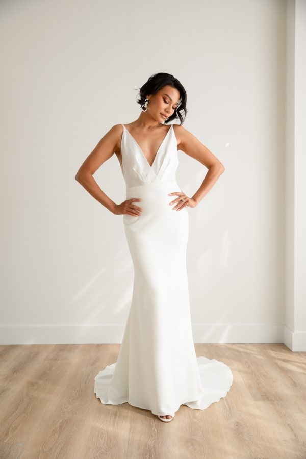 Spaghetti Strap V-neck Satin Sheath Wedding Dress With Stretch Crepe Skirt by Rebecca Schoneveld - Image 1