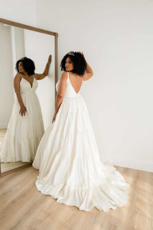 Tiered Taffeta Ball Gown Plus Size Crepe Wedding Dress by Rebecca Schoneveld - Image 2