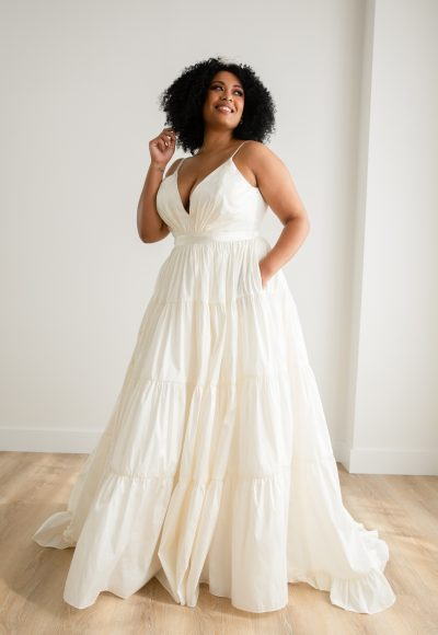 Tiered Taffeta Ball Gown Plus Size Crepe Wedding Dress by Rebecca Schoneveld