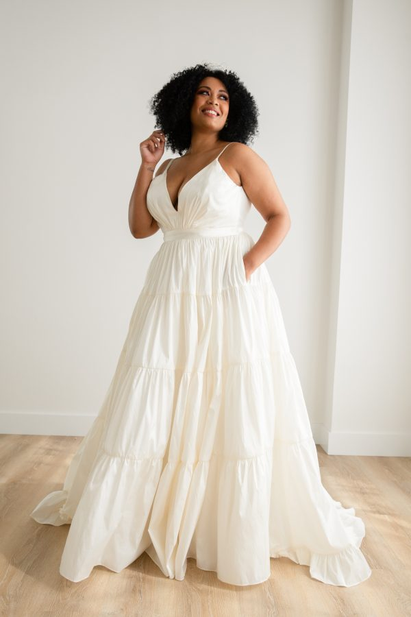 Tiered Taffeta Ball Gown Plus Size Crepe Wedding Dress by Rebecca Schoneveld - Image 1