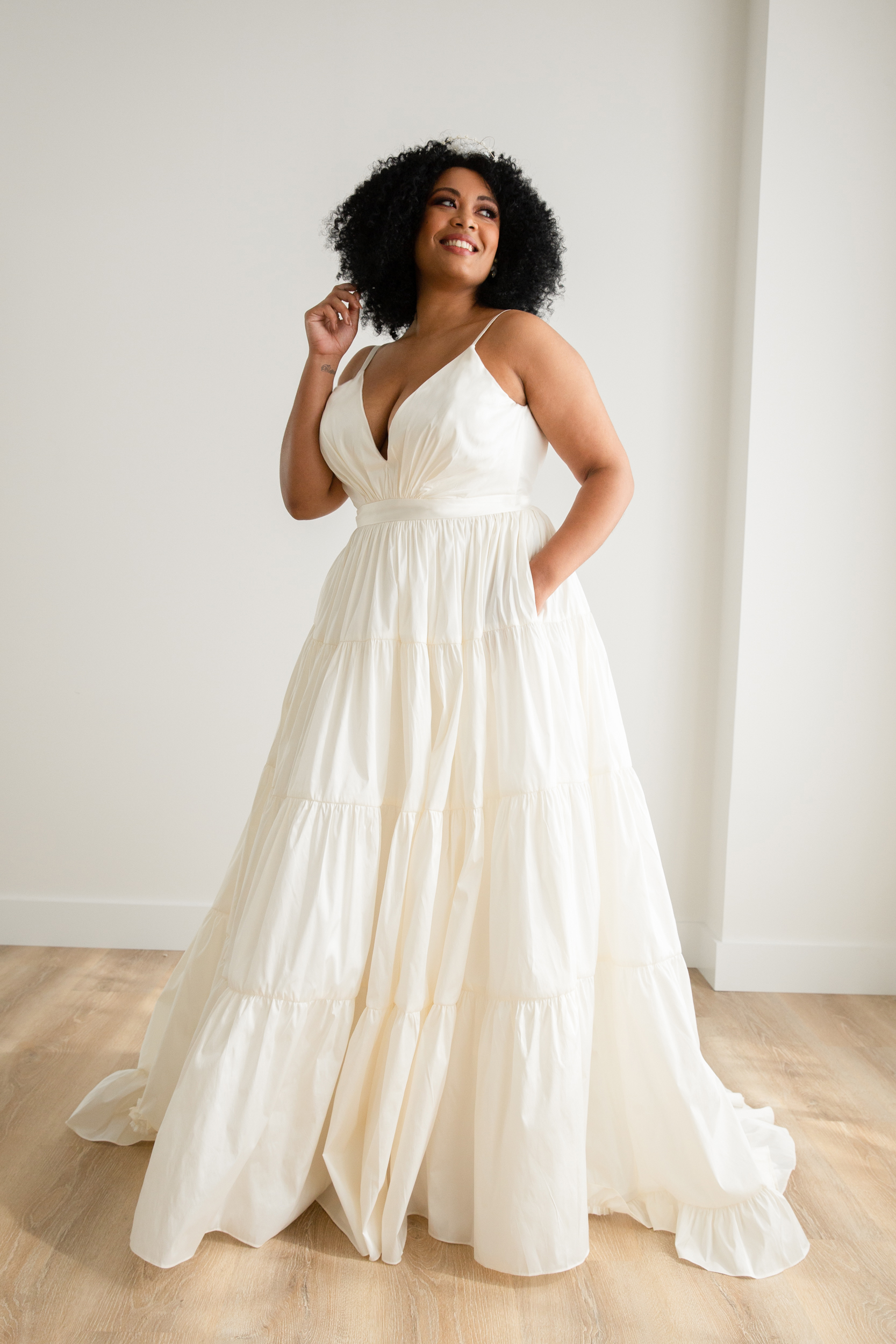 Tiered Taffeta Ball Gown Plus Size Crepe Wedding Dress   Kleinfeld ...