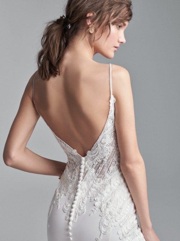 Sophisticated Spaghetti Strap Crepe Bridal Dress With A Dazzling Bodice by Sottero and Midgley - Image 2