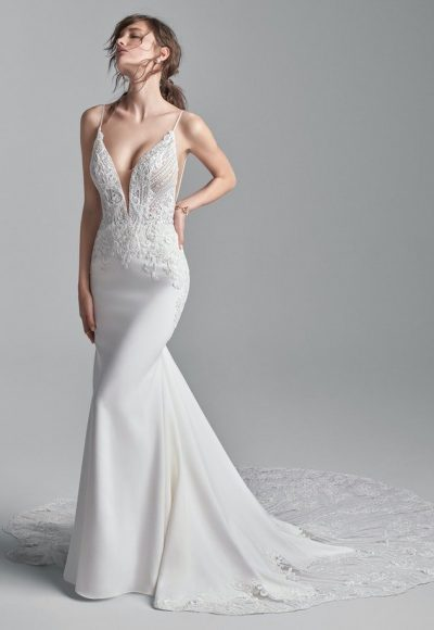 Sophisticated Spaghetti Strap Crepe Bridal Dress With A Dazzling Bodice by Sottero and Midgley