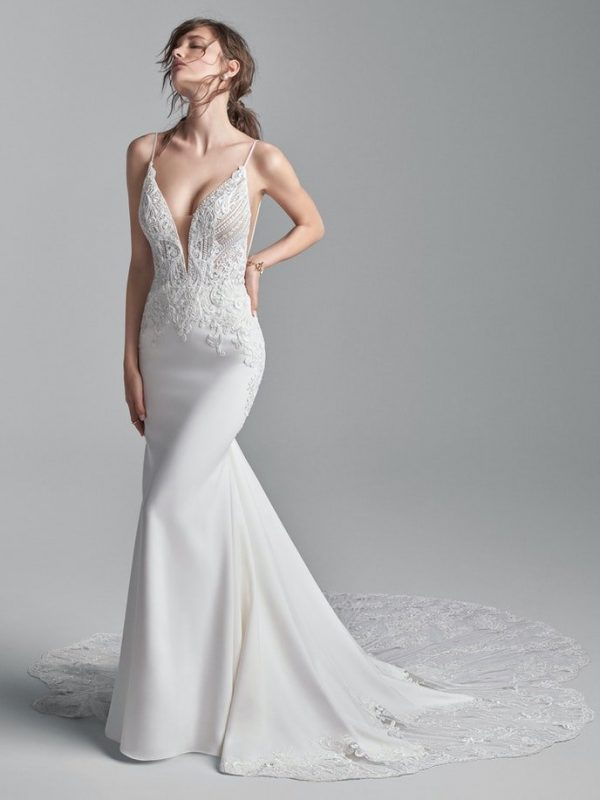 Sophisticated Spaghetti Strap Crepe Bridal Dress With A Dazzling Bodice by Sottero and Midgley - Image 1