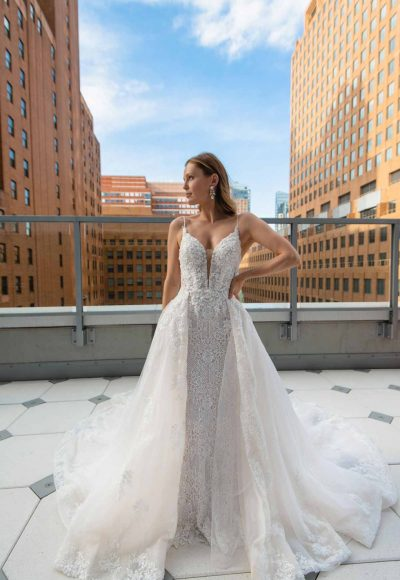 SLEEK FIT-AND-FLARE BEADED WEDDING GOWN WITH OVERSKIRT by Martina Liana Luxe