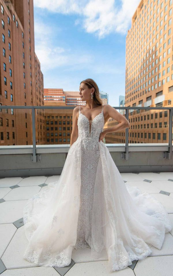 SLEEK FIT-AND-FLARE BEADED WEDDING GOWN WITH OVERSKIRT by Martina Liana Luxe - Image 1