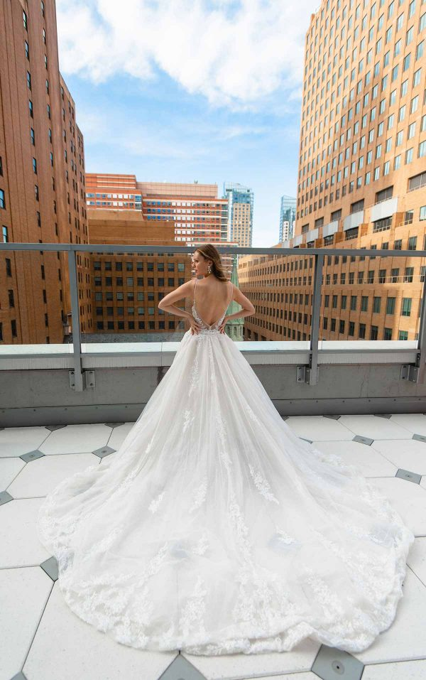 SLEEK FIT-AND-FLARE BEADED WEDDING GOWN WITH OVERSKIRT by Martina Liana Luxe - Image 2