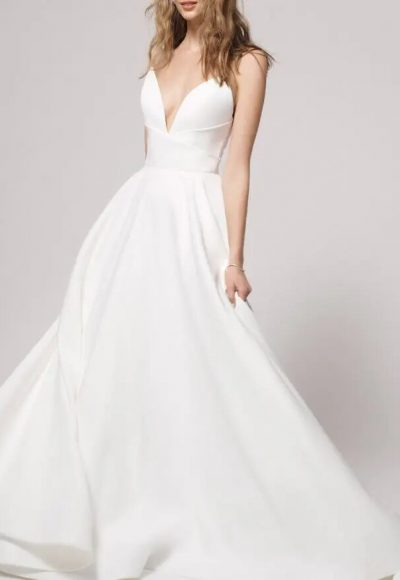 Simple sweetheart neckline satin ball gown wedding dress by Alyne by Rita Vinieris