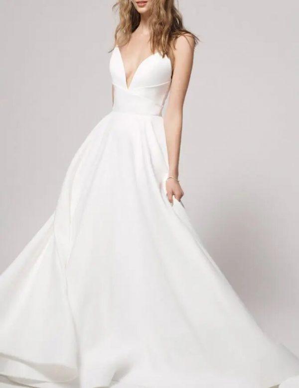 Simple sweetheart neckline satin ball gown wedding dress by Alyne by Rita Vinieris - Image 1
