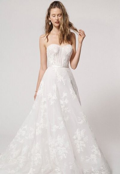 Strapless Sweetheart Neckline Ball Gown Wedding Dress with Beaded Lace and Satin Belt by Alyne by Rita Vinieris