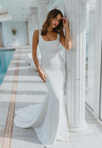 Sleeveless Square Neckline Crepe Sheath Wedding Dress by Anna Campbell
