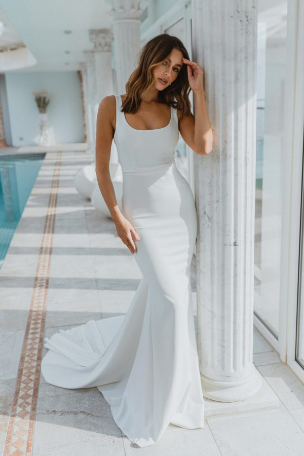 Sleeveless Square Neckline Crepe Sheath Wedding Dress by Anna Campbell - Image 1