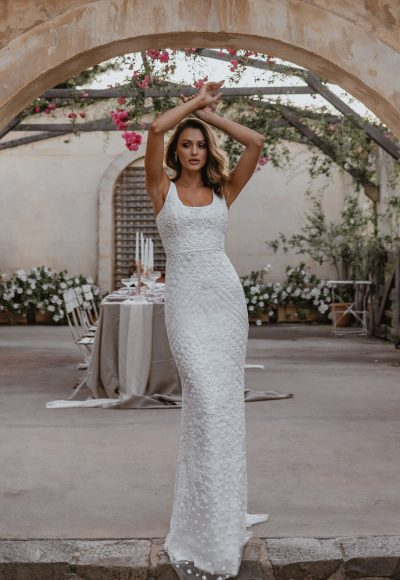 Sleeveless Square Neckline Fitted Sheath Wedding Dress With Beading Throughout And Train by Anna Campbell