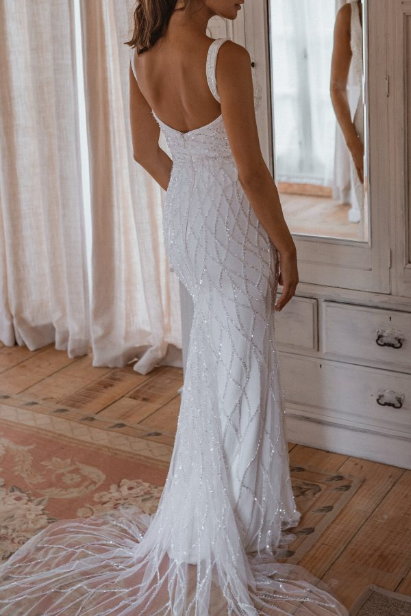 Sleeveless Square Neckline Sheath Wedding Dress With Beading Throughout by Anna Campbell - Image 2