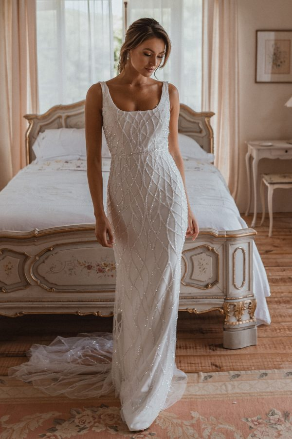 Sleeveless Square Neckline Sheath Wedding Dress With Beading Throughout by Anna Campbell - Image 1